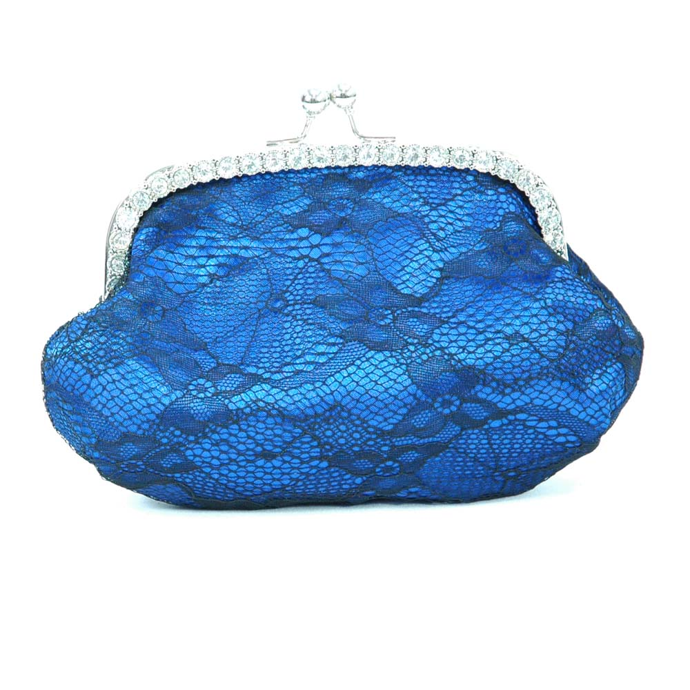 Lace Overlay Satin Clutch