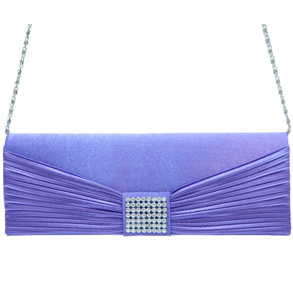 Pleated Bow Tie Evening Bag with Rhinestone Grid