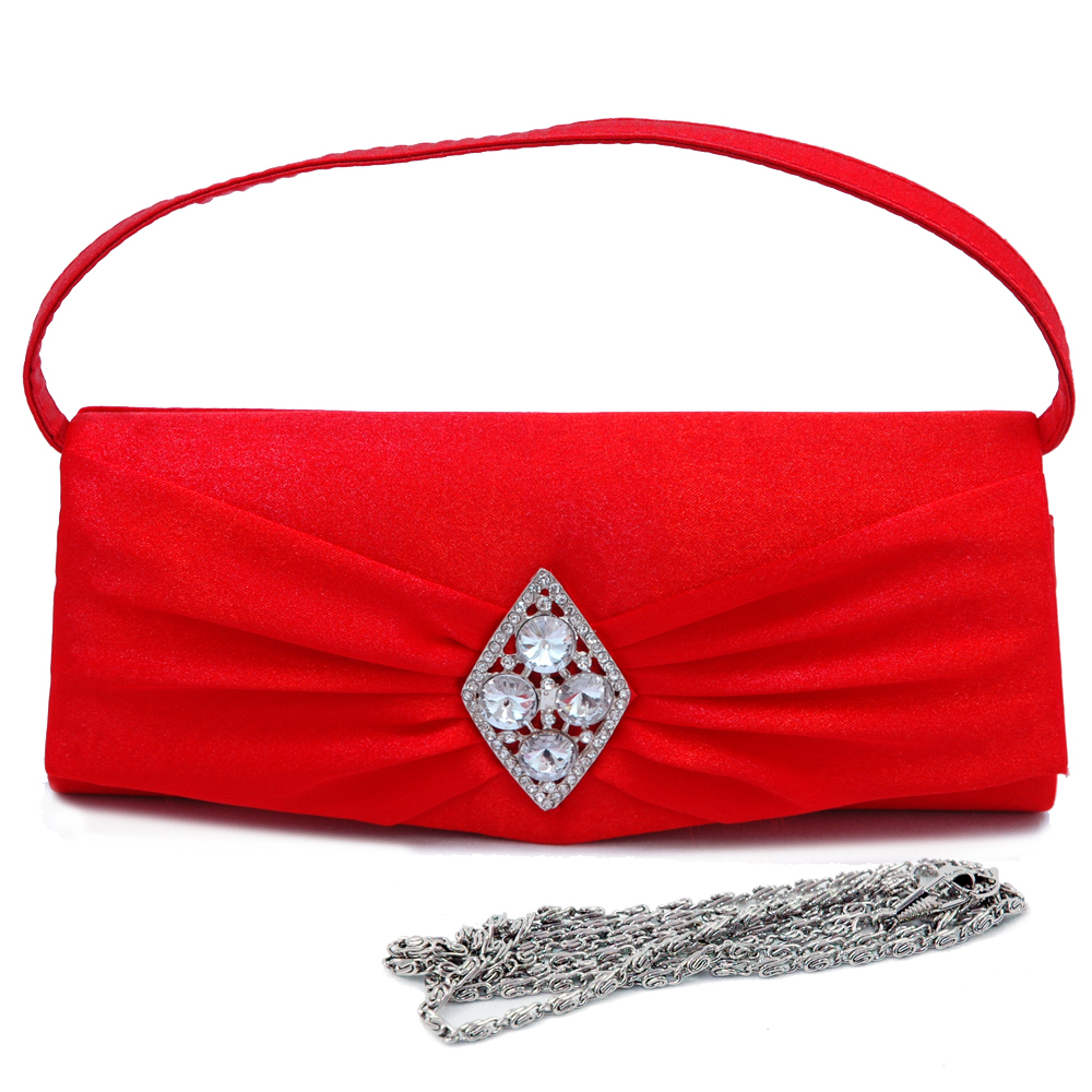 Rhinestone Brooch Plain Evening Bag