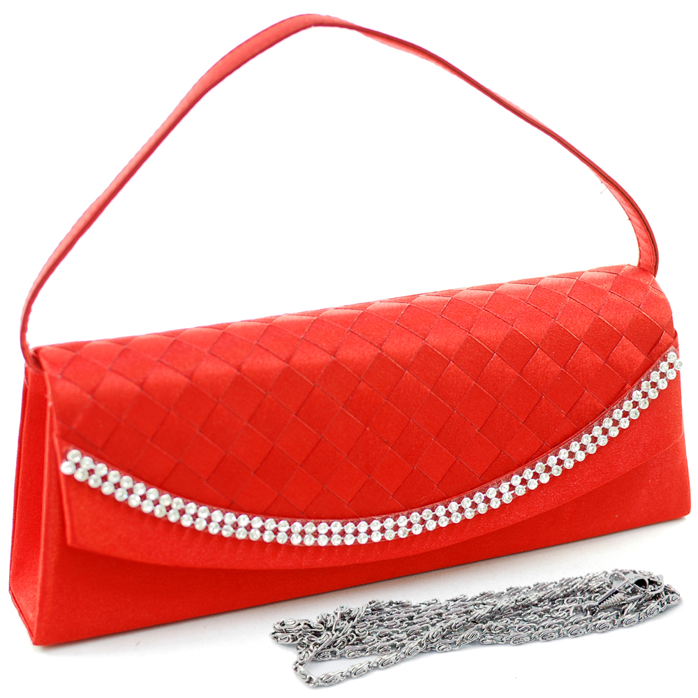 Woven Flap Evening Bag with Curved Rhinestone Trim