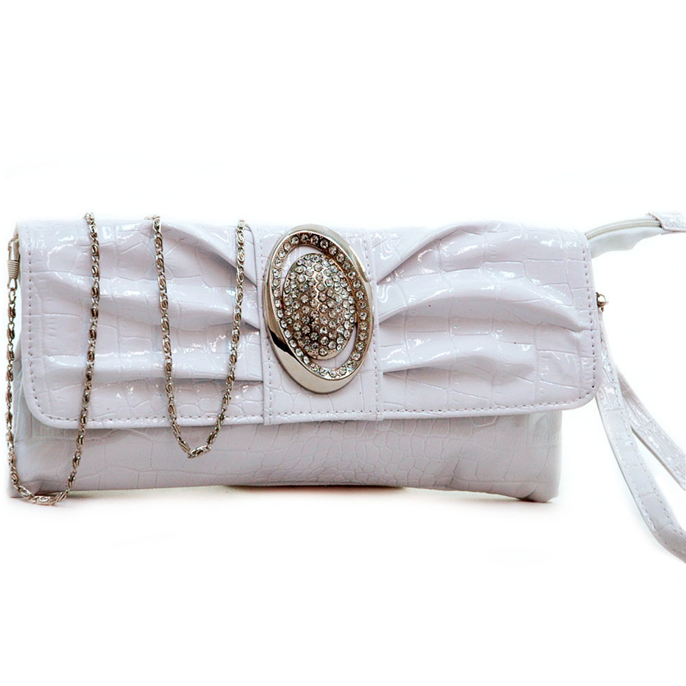 Dasein croco embossed clutch w/ rhinestone ornament
