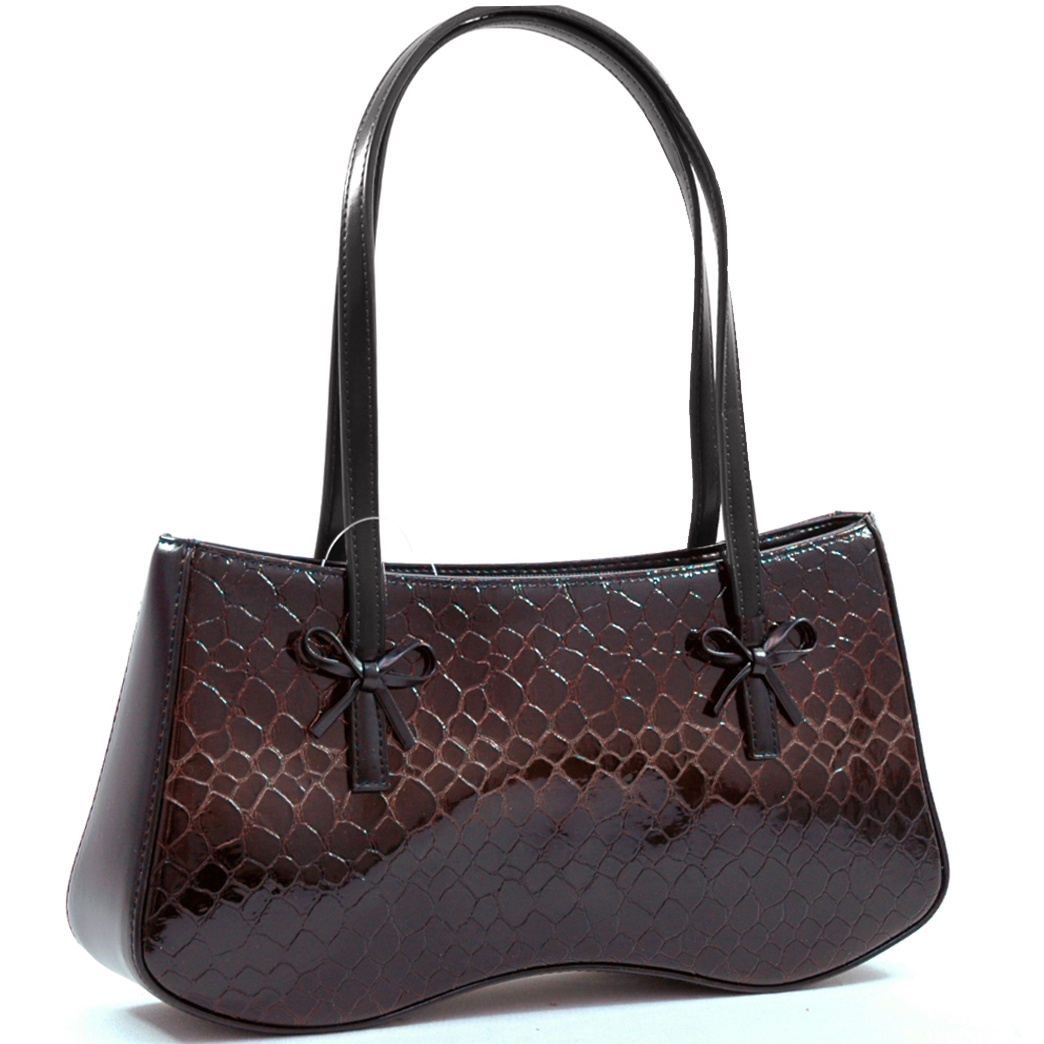 Shiny croco embossed shoulder bag - 2 Tone - Black / Brown