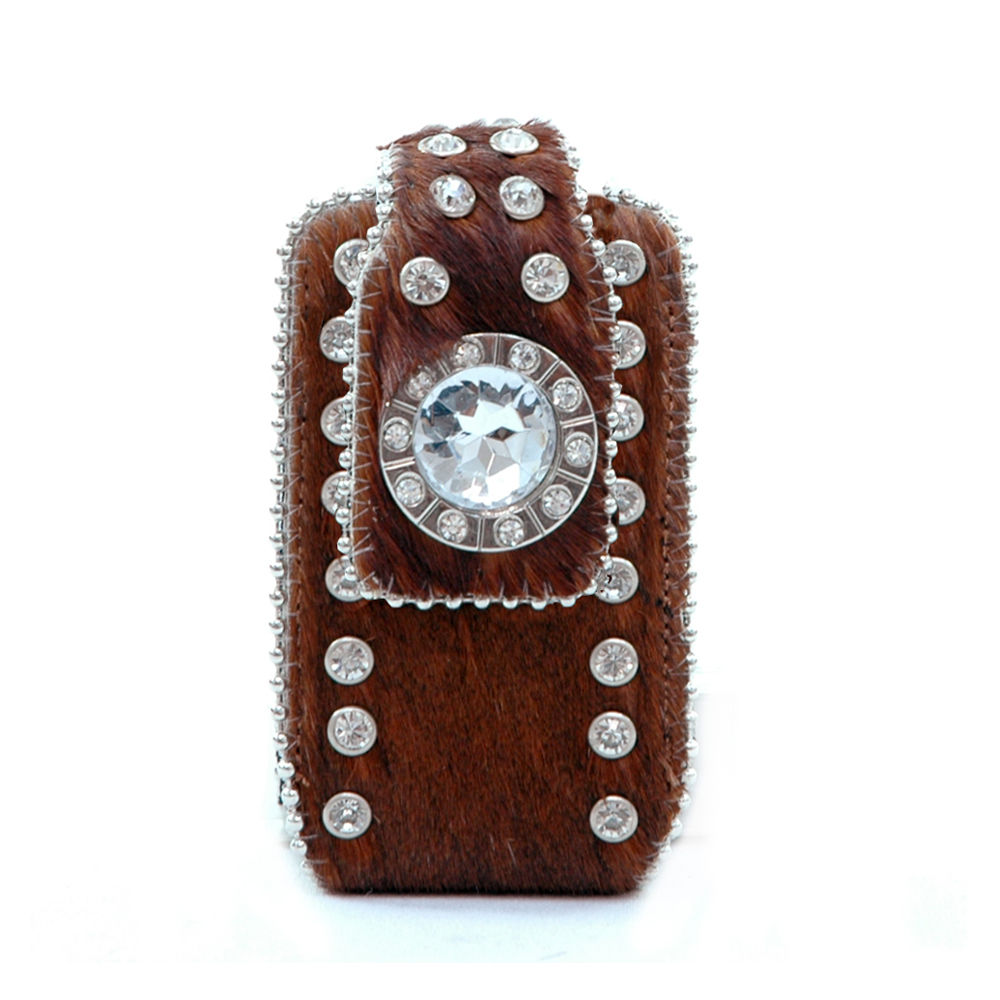 Genuine Leather Cowhide with Rhinestone Cellphone ipod iphone holder