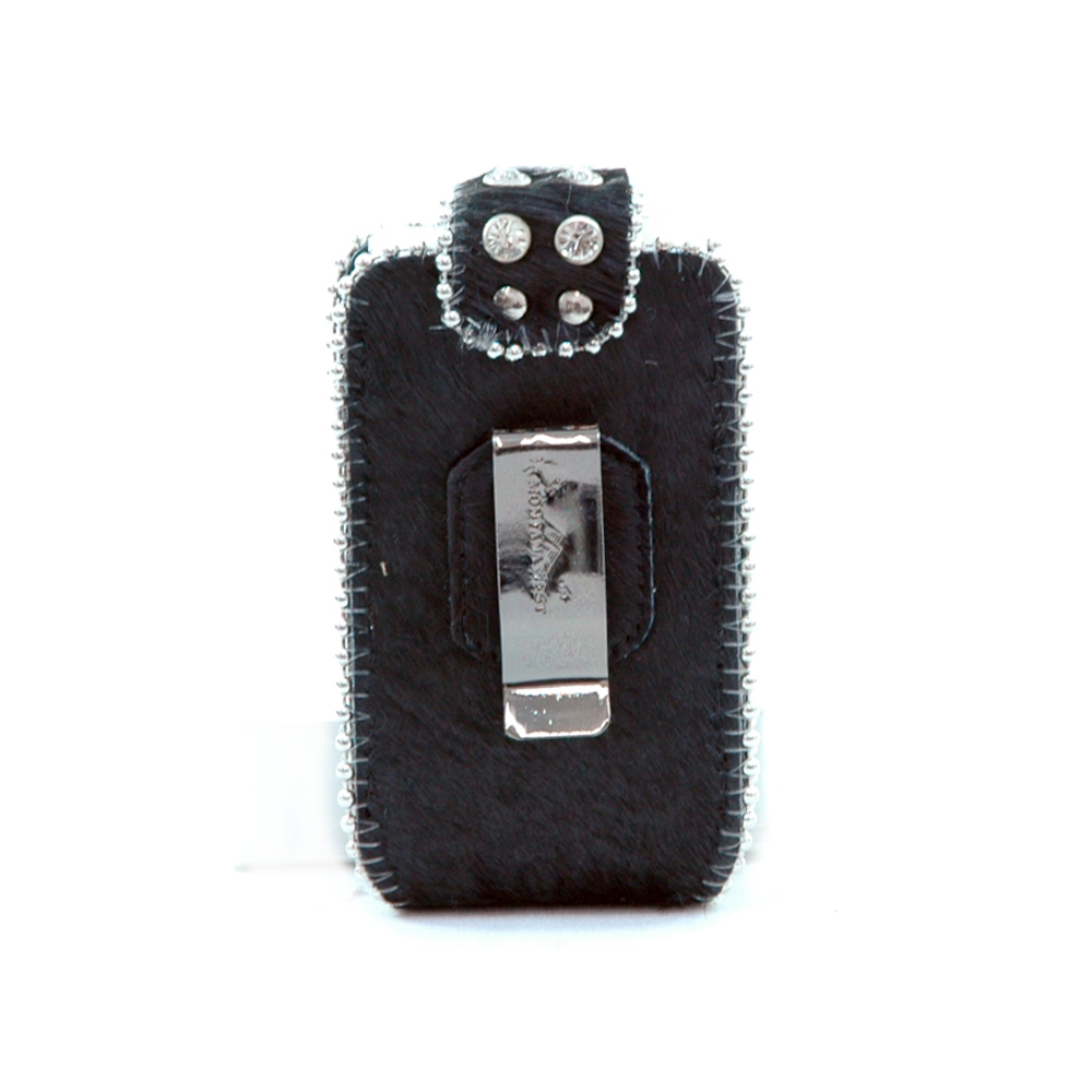 Genuine Leather Cowhide with Rhinestone Cellphone ipod iphone holder Black