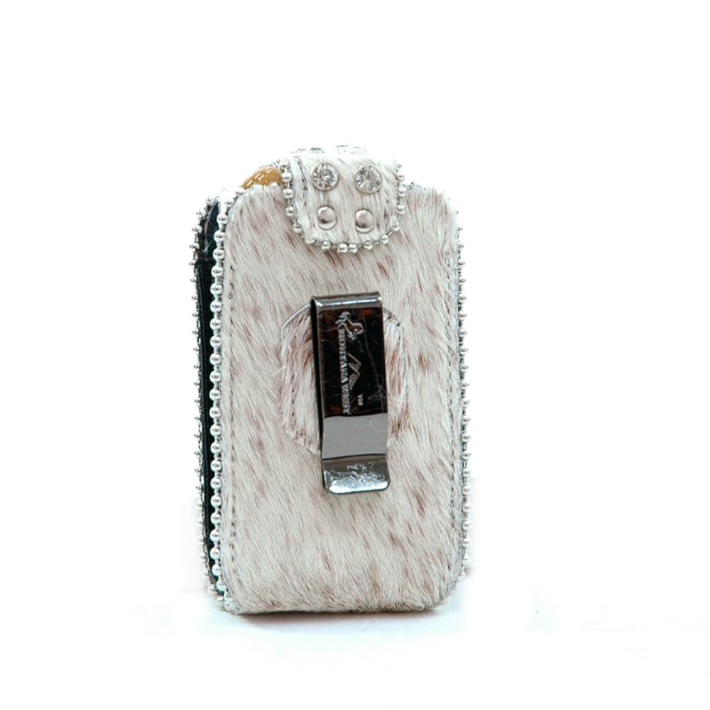 Genuine Leather Cowhide with Rhinestone Accent Cellphone / iPod / iPhone Holder-Natural