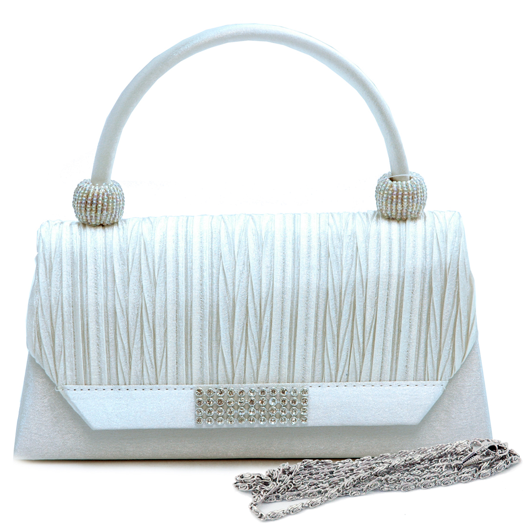 Pleated Angled Flap Evening Bag with Rhinestone Trim