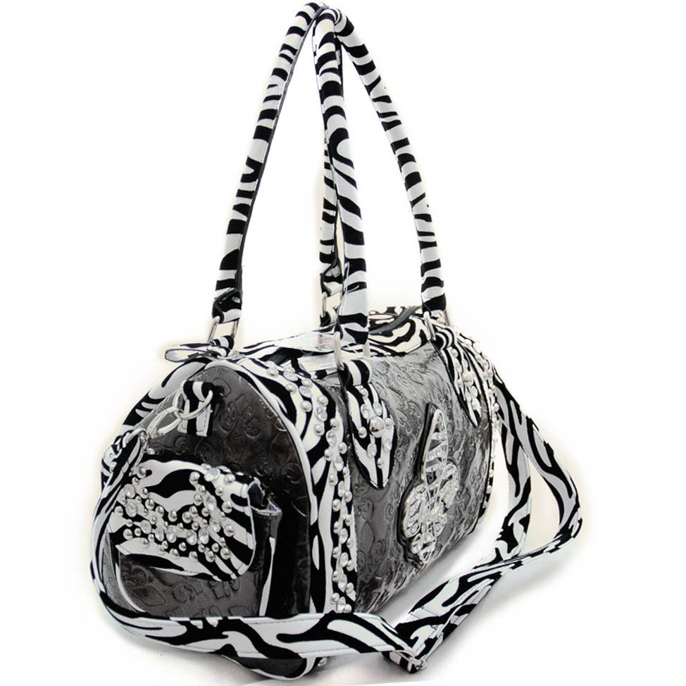 Animal print accent rhinestone Fleur De Lis sign shoulder bag - Pewter