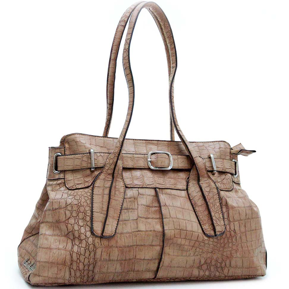 Katehill belt buckle accent shoulder bag w/ croco texture embossed material
