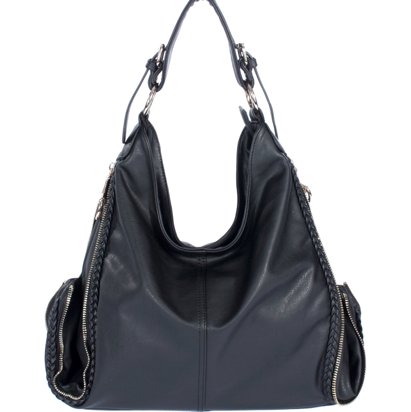 Designer Inspired Woven Accented Hobo Bag