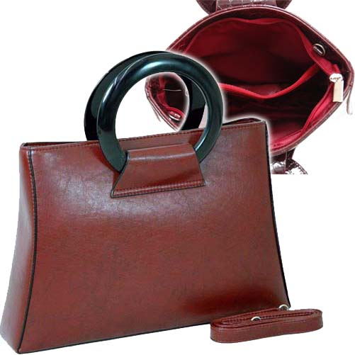 Designer Inspi Fine Textu Leather   Satchel