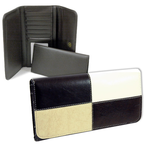 Dasein Fine Textu Leather Like Classic Checkbook Wallet-Black///Coffee