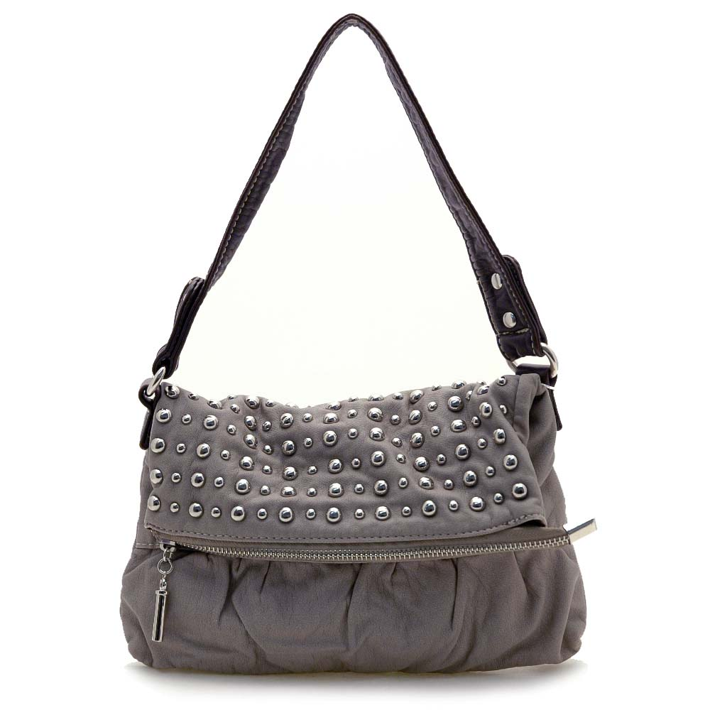Petite Stone washed Studded Shoulder Bag