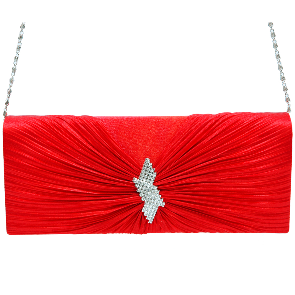 Pleated Twist Knot Evening Bag with Rhinestone Brooch