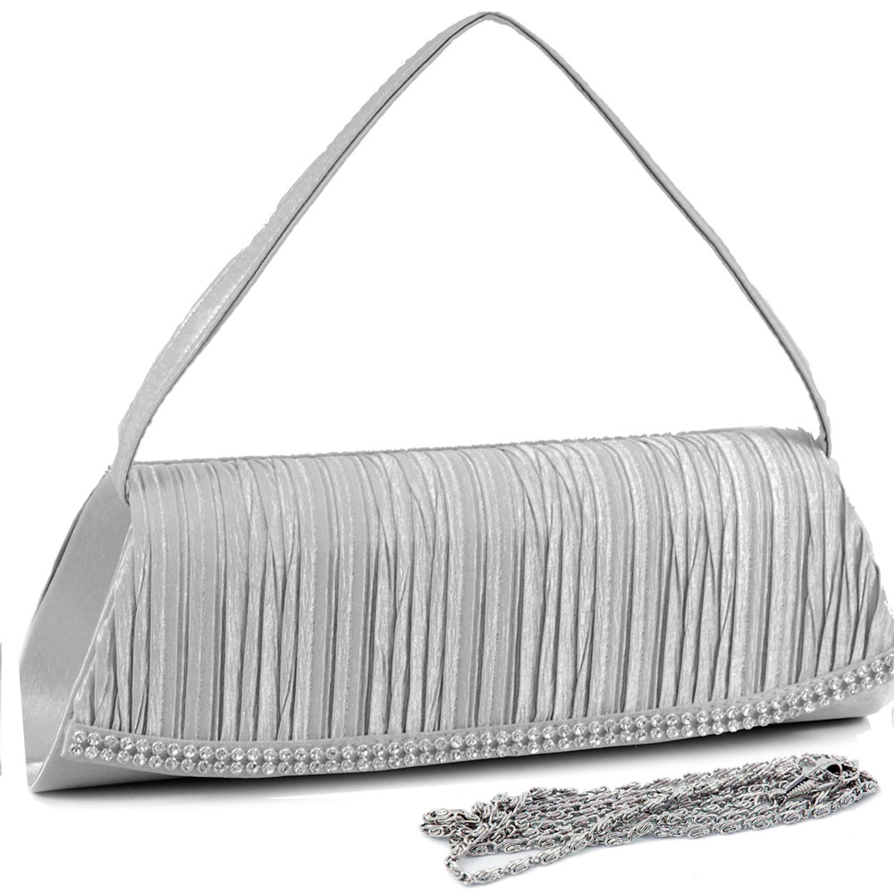 Pleated Front Evening Bag with Curved Rhinestone Trim
