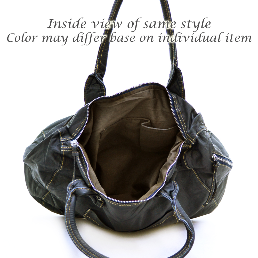 Ustyle Soft Fashion Tote Bag with Zippered Pockets-Brown