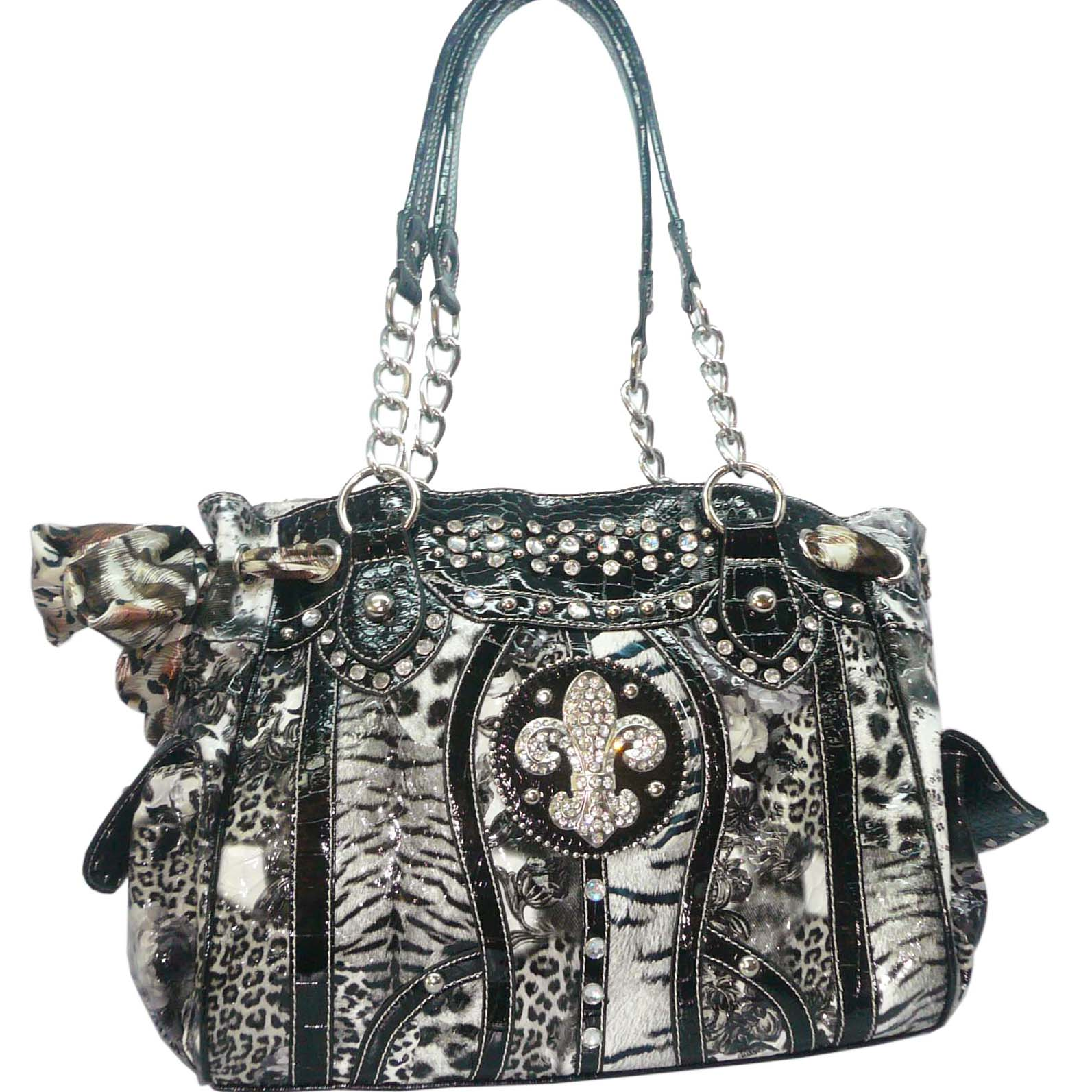 Animal Flower Print Tote Bag Handbag With Rhinestone Fleur de Lis