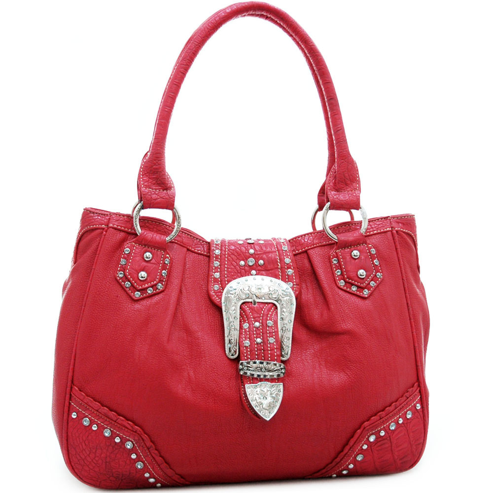 Montana West Western Tote Bag with Rhinestone Buckle-Red