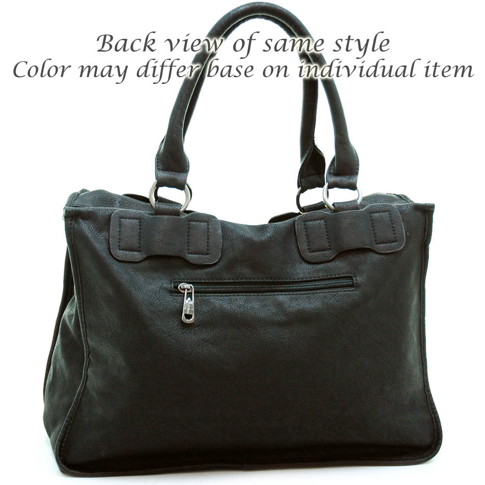 Briefcase style fashion tote bag with detachable strap