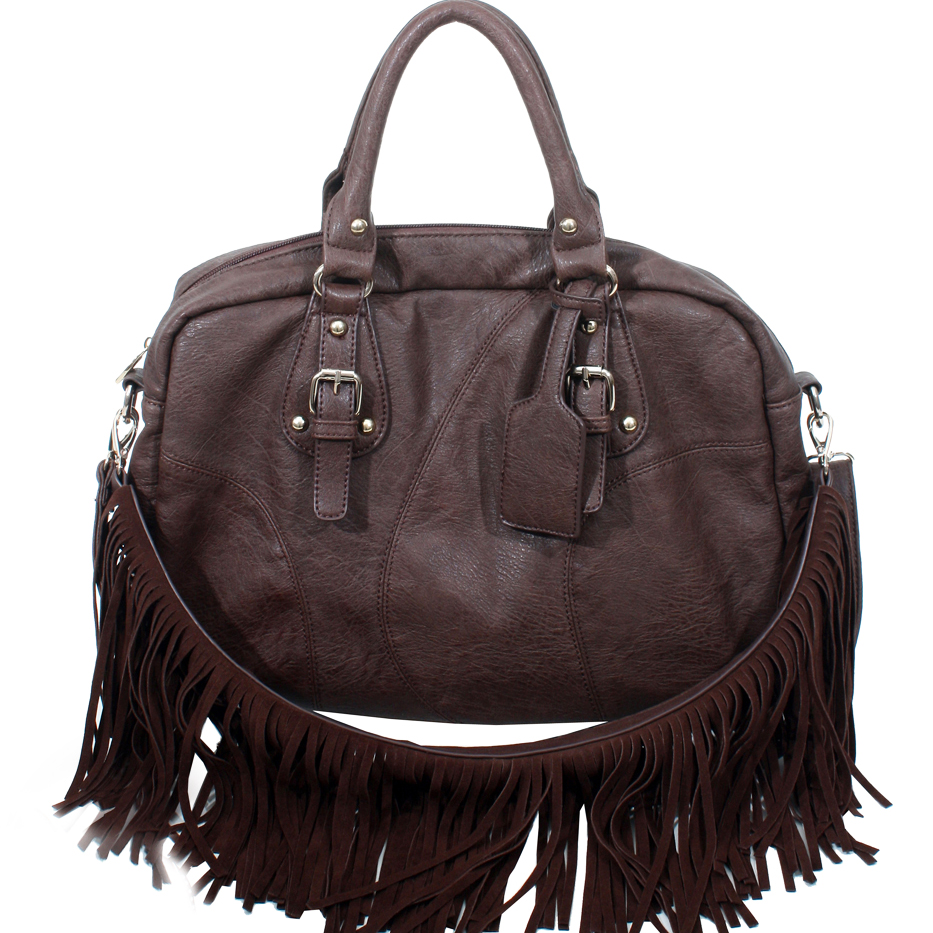 Alyssa Western Style Satchel Bag with Detachable Fringe Shoulder Strap-Coffee