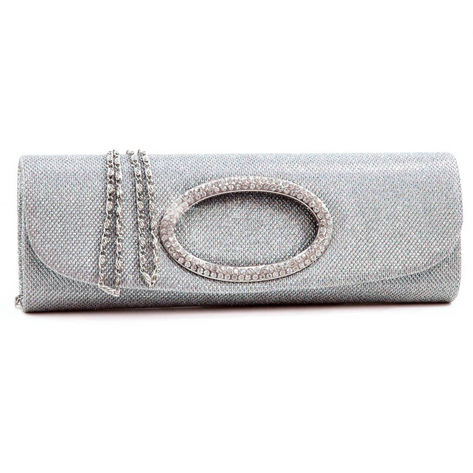 Glittered evening bag clutch w/ rhinestone ring accent
