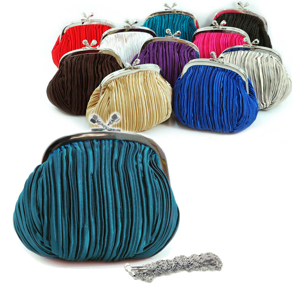 Pleated satin kiss lock clutch w/ rhinestone accents