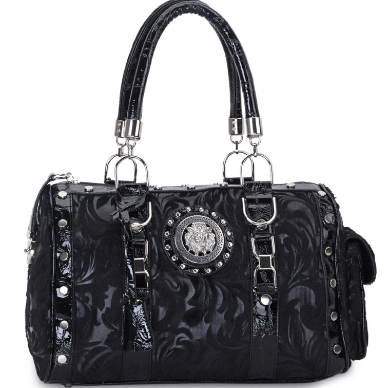 Designer Inspired Floral Print Satchel Bag with Side Pocket and Lion Emblem-Black