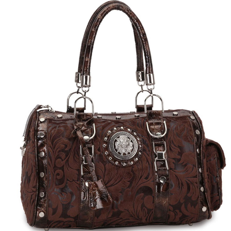 Designer Inspired Floral Print Satchel Bag with Side Pocket and Lion Emblem-Coffee