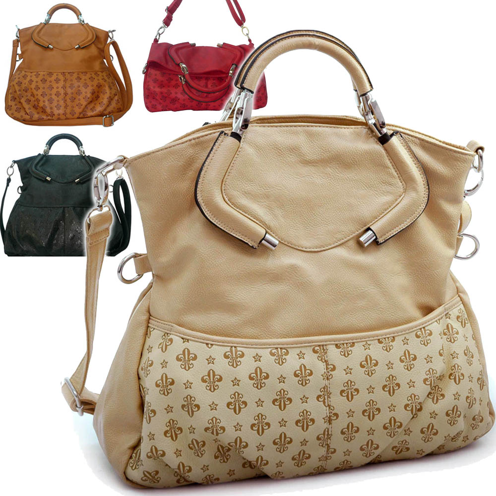Fleur-de-lis Embossed Tote Bag w/ Detachable Strap