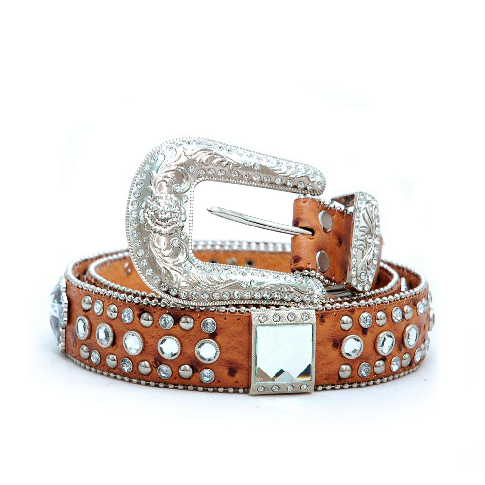 Womens rhinestone cross and studs western belt