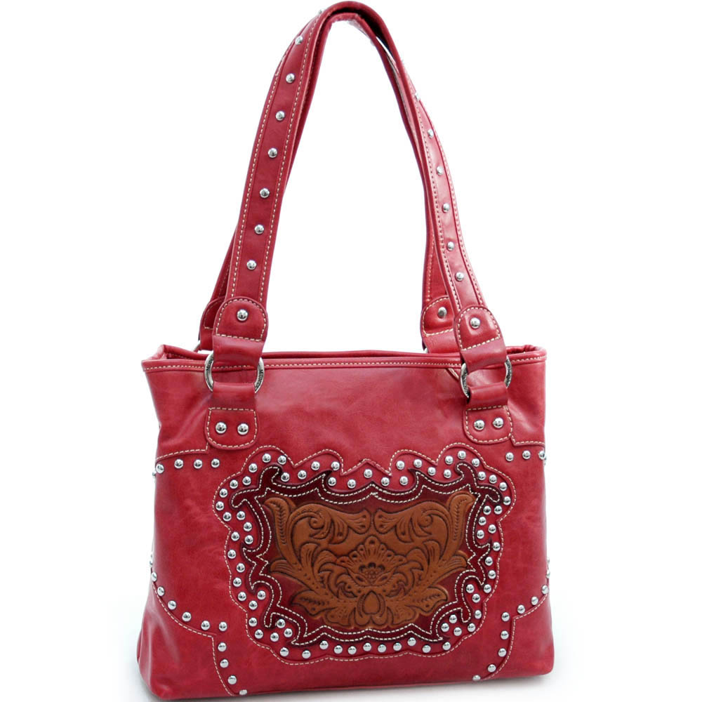 Montana West Studded Tote with Flower - Coffee