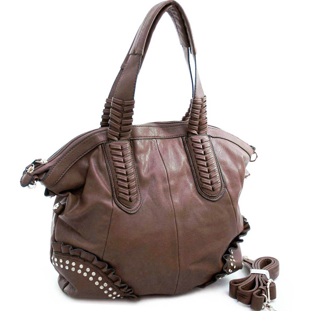 Diophy Studded Tote with Multiple Compartments & Detachable Strap - Brown