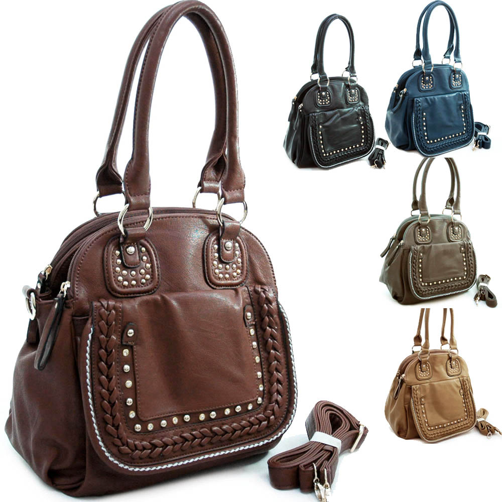 Diophy Designer Inspired Studded Satchel with Multiple Compartments & Detachable Strap-GREY