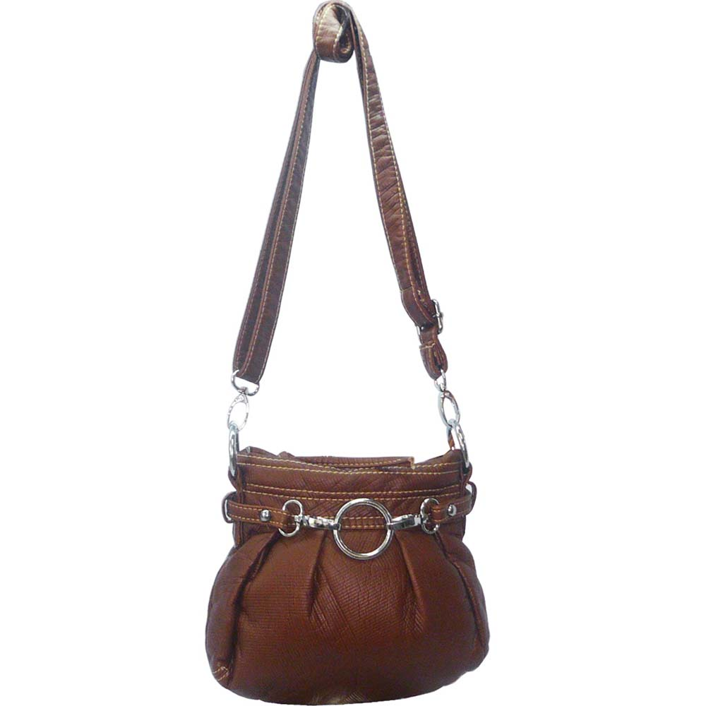 Ustyle Stone Washed Petite Cross Body Bag with Detachable Strap-Brown