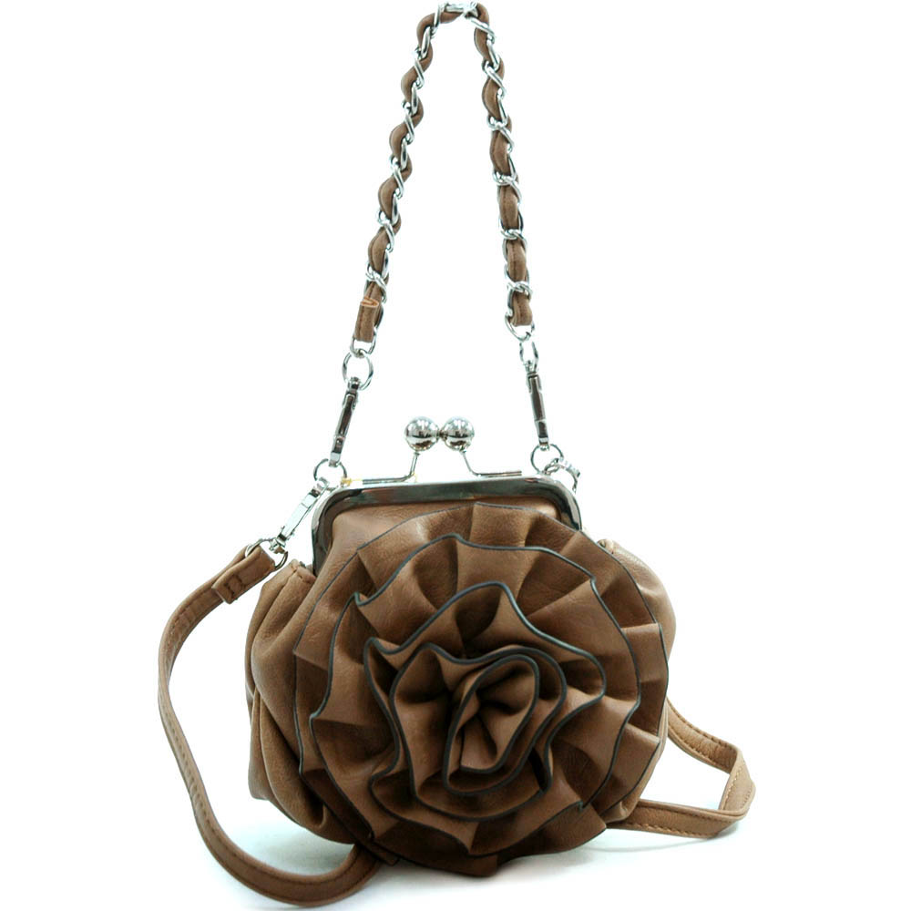 Fashion Cross Body Purse / Clutch with Floral Rosette and Detachable Chain Strap-Light Brown