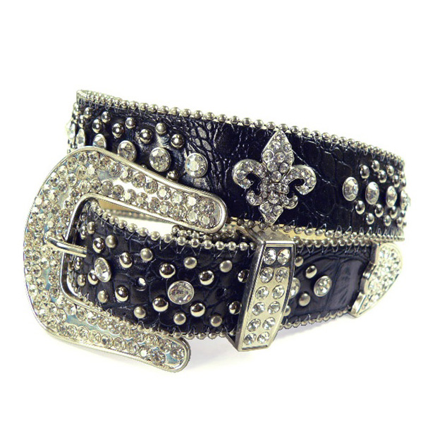 Ladies western studded croco belt with rhinestone fleur de lis pattern