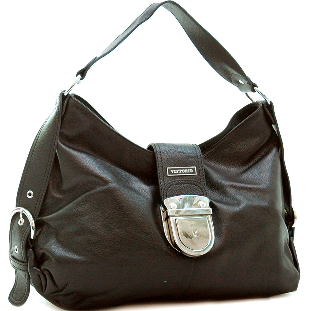 Genuine leather designer inspired fashion shoulder bag w/ belted sides
