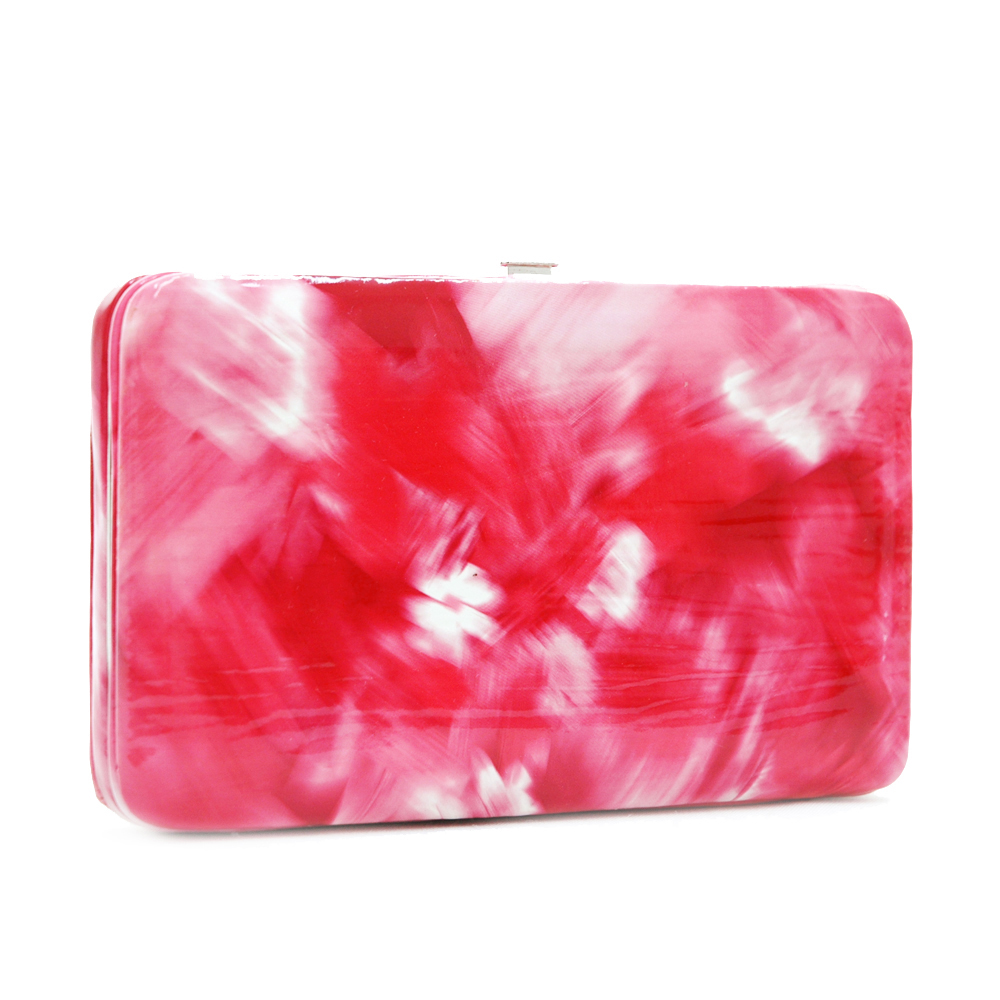 Brushed flower design extra deep frame wallet