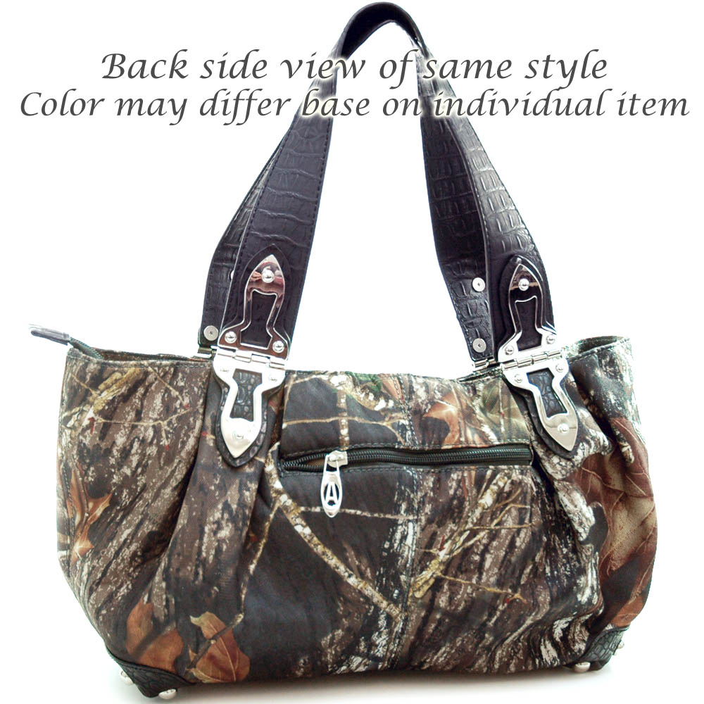 Mossy Oak® Arctic Camo Croco Hinge Handle Shoulder Bag