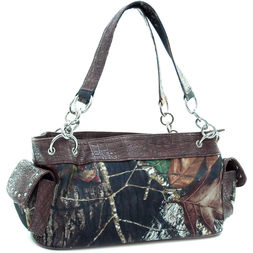Mossy Oak® Arctic Camo Croco Trim Shoulder Bag