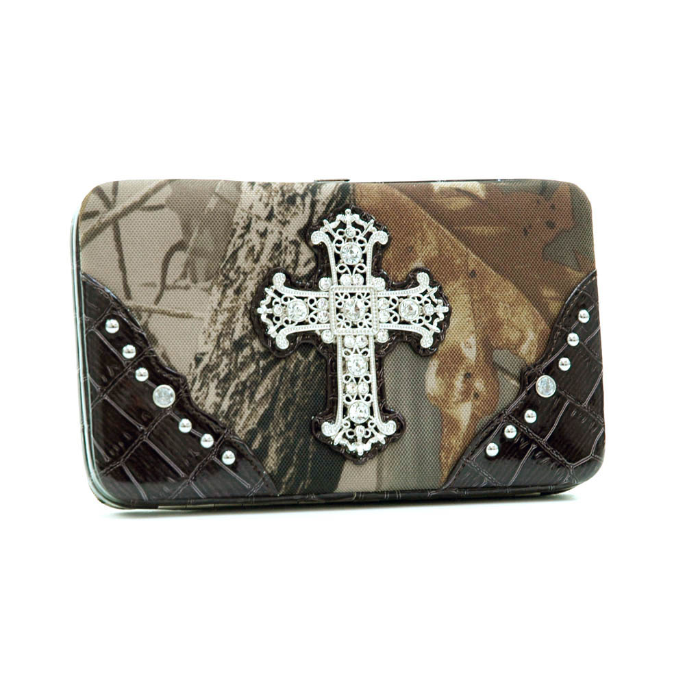 Realtree® Hardwoods HD Camo Rhinestone Cross Frame Wallet