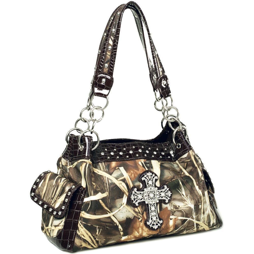 Realtree® Max-4 Camo Rhinestone Cross & Studded Croco Trim Shoulder Bag