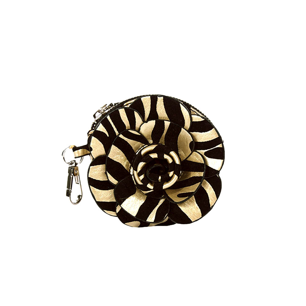 Floral rosette coin purse with zebra pattern