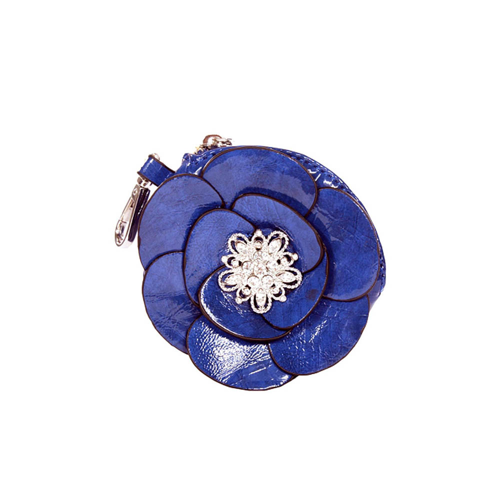 Patent floral rosette coin purse with rhinestone brooch