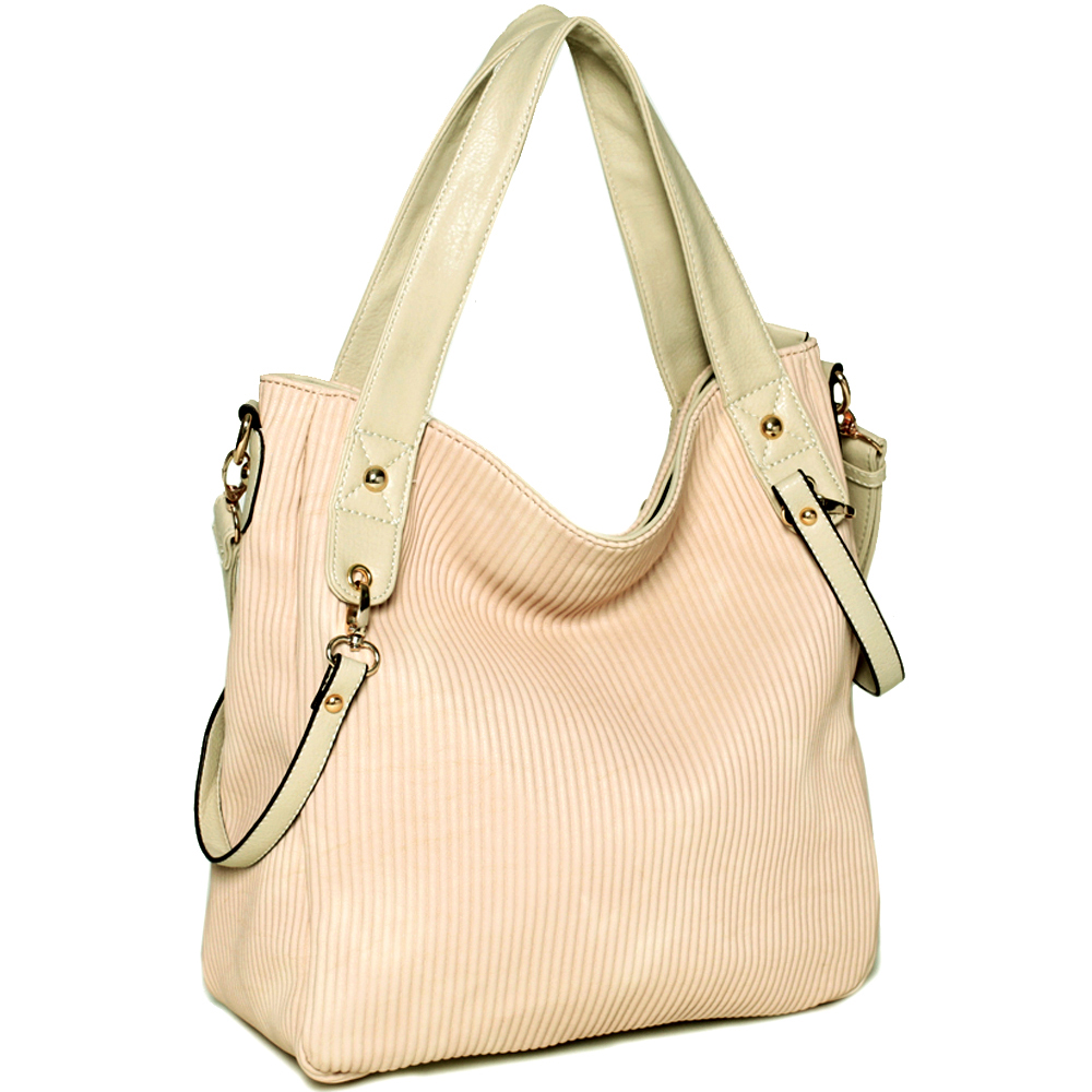 Designer inspired pleated 2-tone tote bag w/ detachable strap