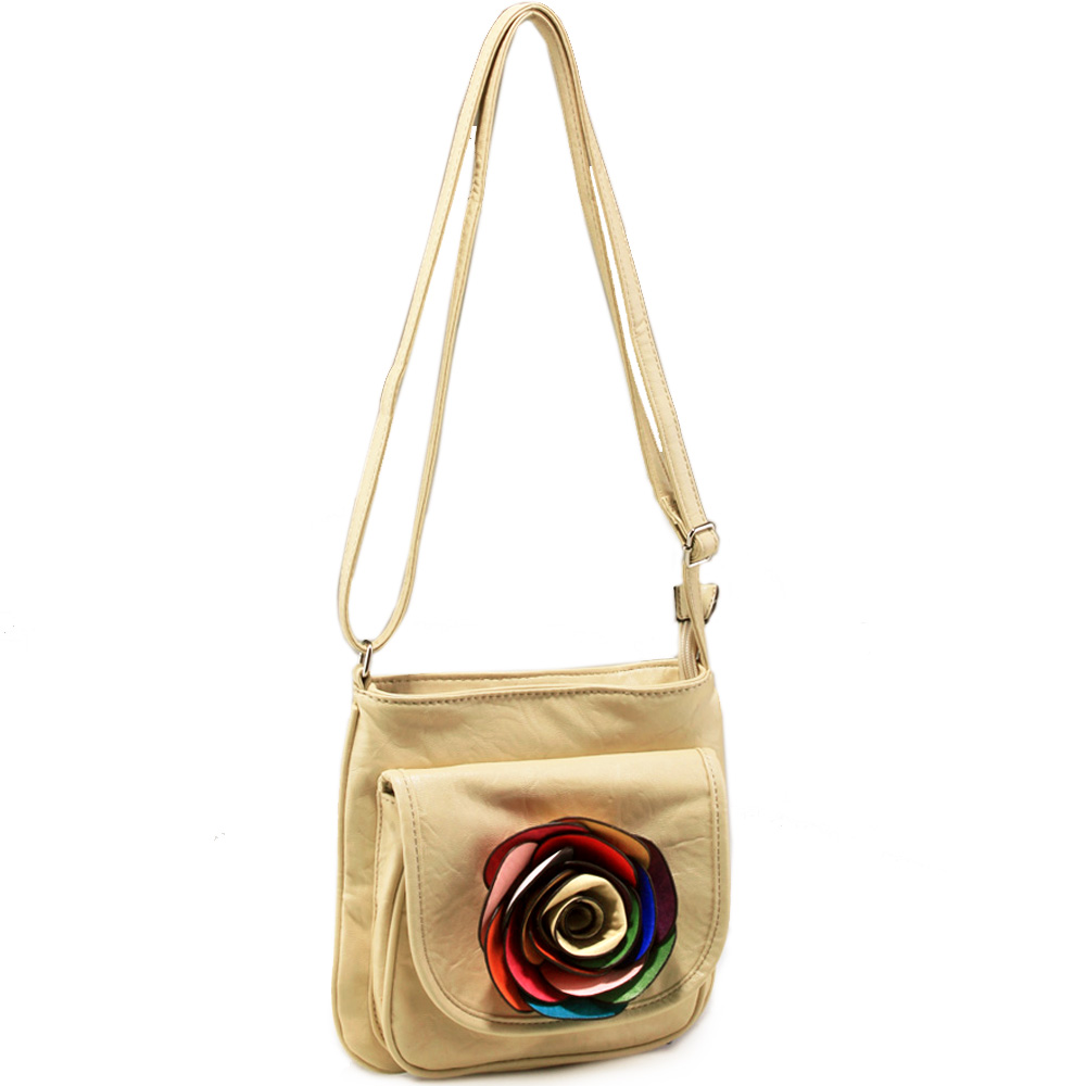 Fashion crossbody bag with multi colored floral accent - beige