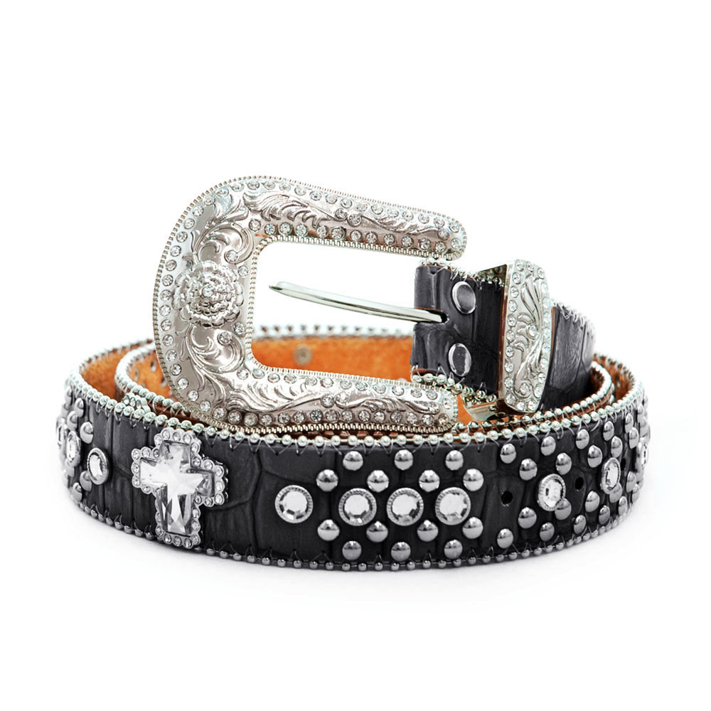 Womens croco embossed rhinestone cross and studs belt