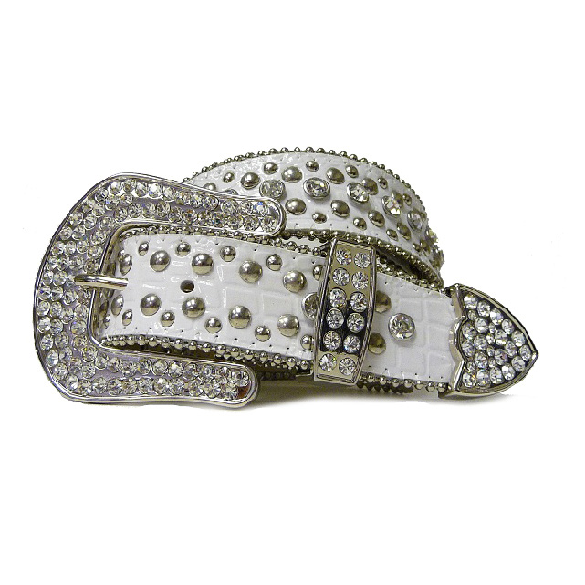 Ladies rhinestone studded western croco embossed belt