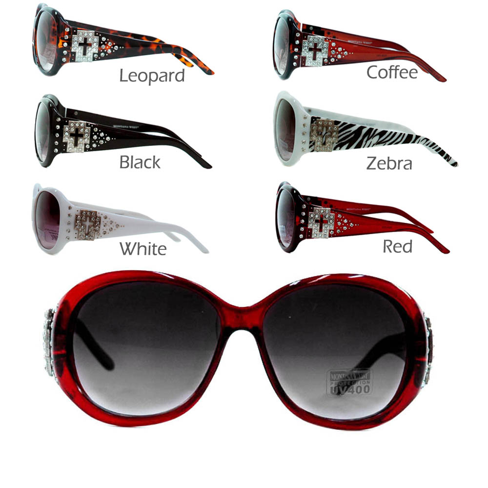 Western style fashion round frame sunglasses w/ cutout cross rhinestones