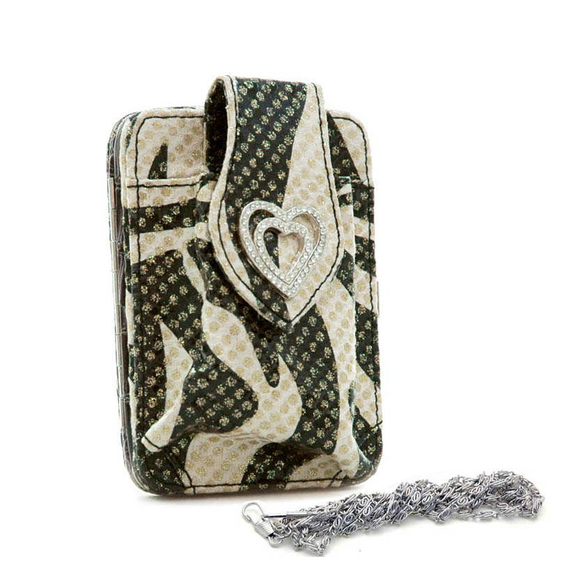 Zebra phone case/ frame wallet w/ rhinestone heart gold dots