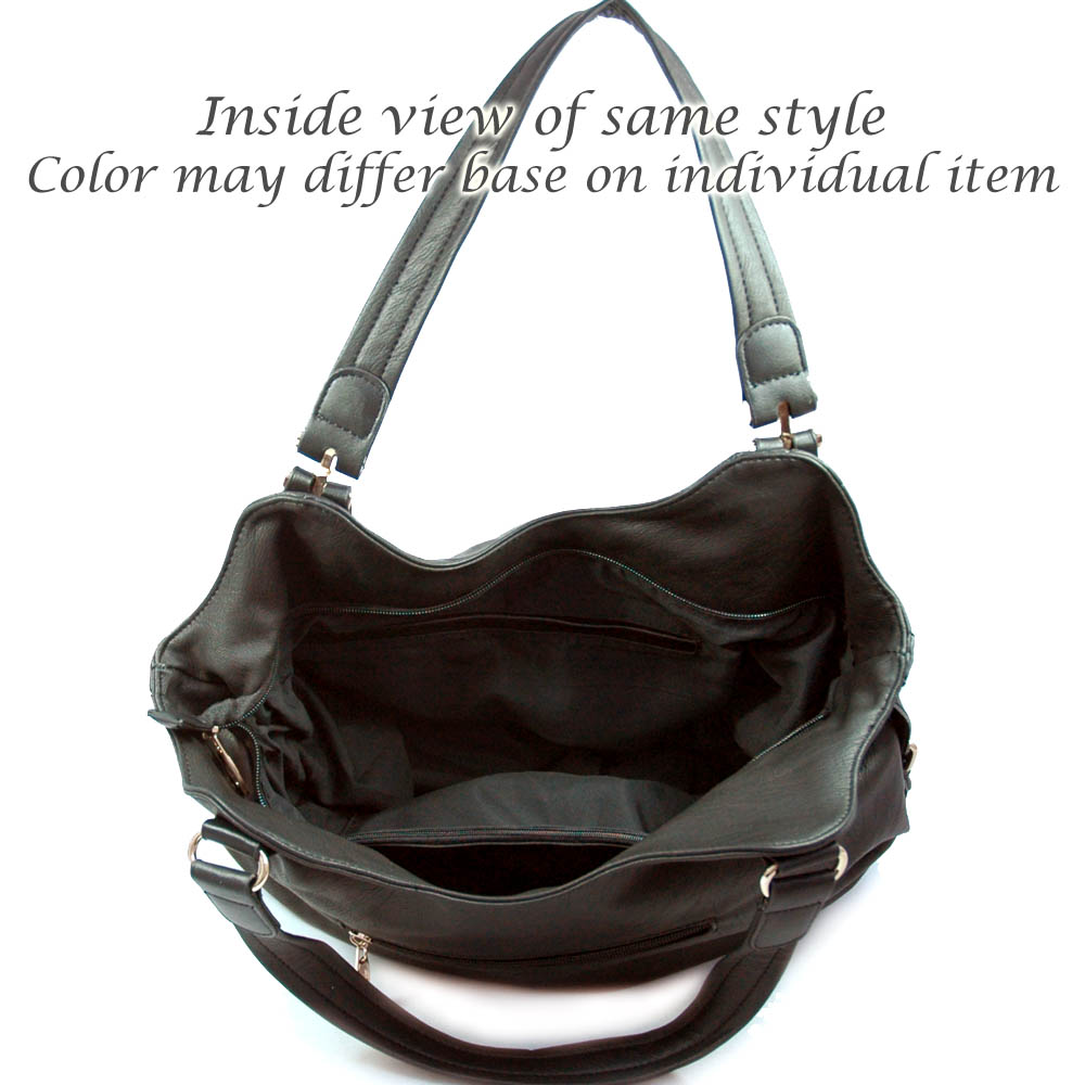Designer inspired fashion hobo bag with belted side accents